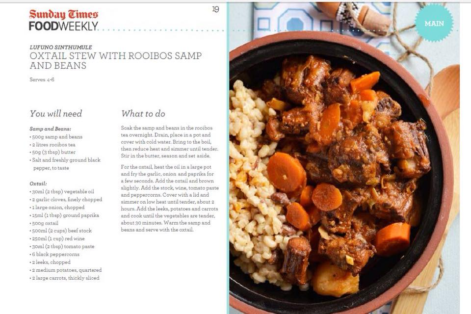 OXTAIL STEW WITH ROOIBOS SAMP & BEANS